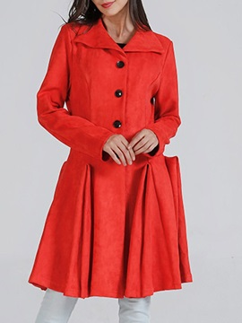 Single-Breasted Regular Slim Long Winter Women's Overcoat