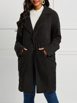 Long Sleeve Loose Lapel Mid-Length Women's Overcoat