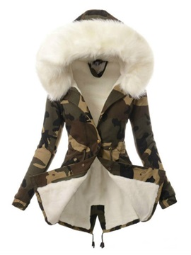 Camo Print Thick Mid-Length Women's Cotton Padded Coat