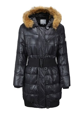 Single-Breasted Button Mid-Length Women's Cotton Padded Overcoat