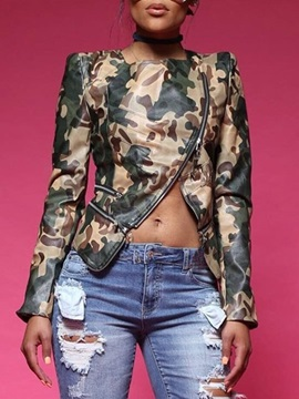 Camouflage Zipper Long Sleeve Slim Women's Jacket