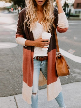 Color Block Long Sleeve Slim Women's Cardigan