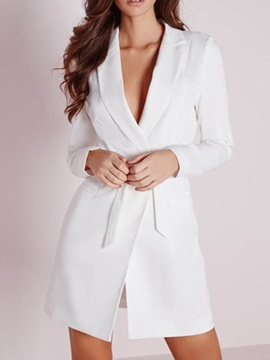 Long Sleeve Plain Notched Lapel Office Lady Women's Blazer