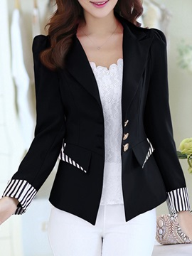 Color Block Notched Lapel Contrast Trim Casual Women's Blazer