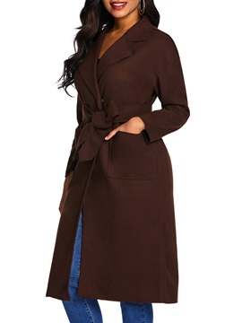 Slim Pocket Notched Lapel Belt Women's Overcoat