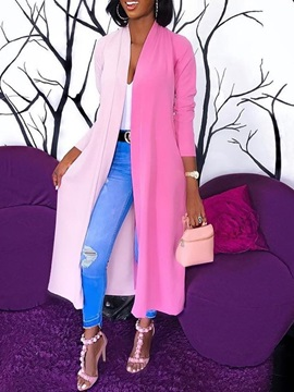 Wrapped Long Patchwork Straight Casual Women's Trench Coat