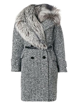 Plus Size Double-Breasted Patchwork Regular Mid-Length Fall Women's Overcoat
