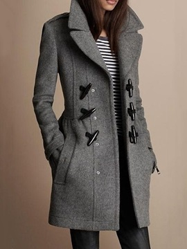 Straight Horn Button Notched Lapel Mid-Length Women's Overcoat