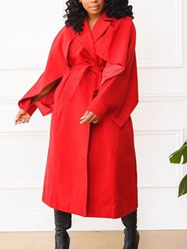 Long Notched Lapel Long Sleeve Loose Women's Trench Coat