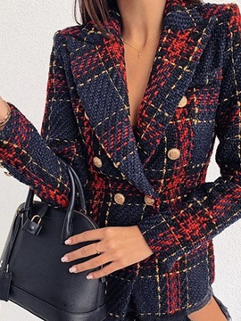 Plaid Long Sleeve Double-Breasted Regular Mid-Length Women's Casual Blazer