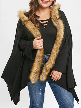 Plus Size Cape Asymmetric Mid-Length Women's Overcoat