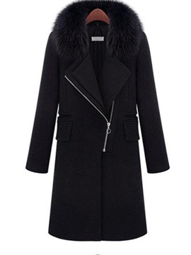 Straight Regular Zipper Mid-Length Winter Women's Overcoat
