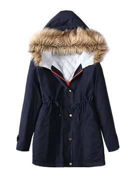 Single-Breasted Patchwork Loose Mid-Length Women's Cotton Padded Jacket