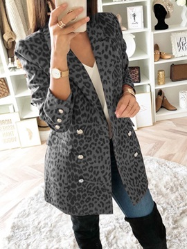 Double-Breasted Color Block Long Sleeve Regular Mid-Length Women's Casual Blazer