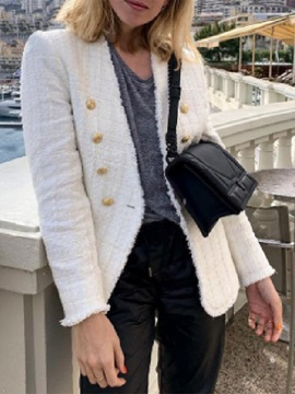 Long Sleeve Double-Breasted V-Neck Mid-Length Women's Casual Blazer