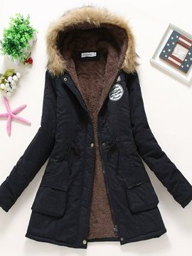 Patchwork Zipper Slim Mid-Length Women's Cotton Padded Jacket