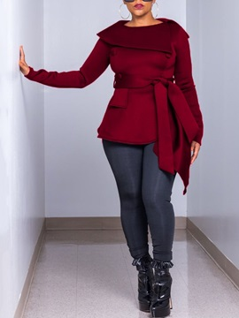 Double-Breasted Slim Mid-Length Round Neck Women's Overcoat