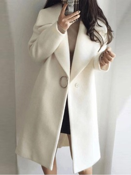 Loose One Button Notched Lapel Long Women's Overcoat