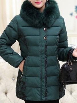 Plus Size Slim Patchwork Thick Mid-Length Women's Cotton Padded Jacket