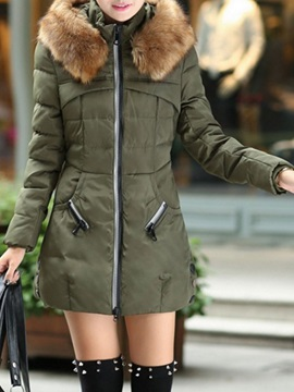 Patchwork Loose Zipper Mid-Length Women's Cotton Padded Jacket