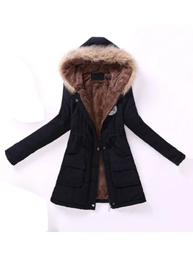 Slim Thick Lace-Up Mid-Length Women's Cotton Padded Jacket