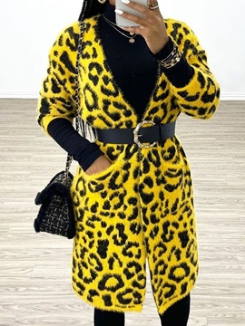 Print Regular Straight Mid-Length Women's Overcoat