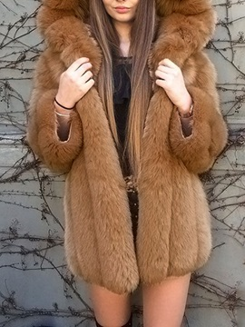 Plain Mid-Length Hooded Thick Loose Women's Faux Fur Overcoat