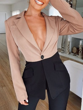 One Button Color Block Mid-Length Regular Women's Casual Blazer