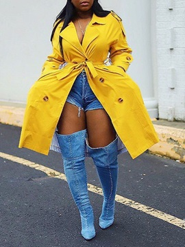 Double-Breasted Lace-Up Notched Lapel Loose Fall Women's Trench Coat
