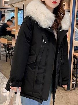 Faux Fur Patchwork Zipper Thick Mid-Length Women's Cotton Padded Jacket