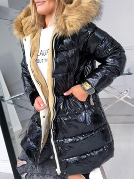 Faux Fur Hooded Thick Mid-Length Women's Cotton Padded Jacket