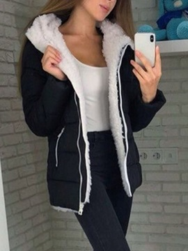 Thick Zipper Straight Mid-Length Women's Cotton Padded Jacket