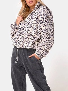 Leopard Zipper Thick Standard Regular Women's Jacket