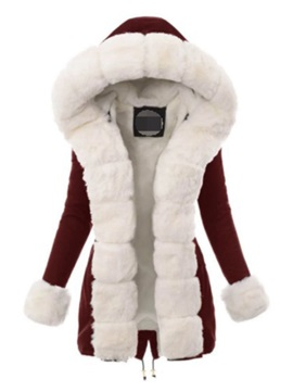 Faux Fur Long Collar Thick High Waist Mid-Length Women's Cotton Padded Jacket