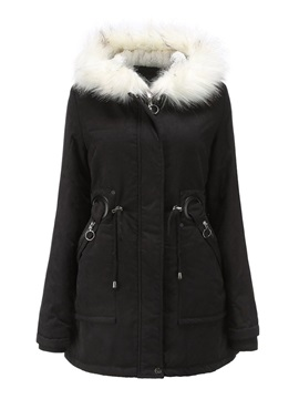 Straight Faux Fur Hooded Zipper Mid-Length Women's Cotton Padded Jacket
