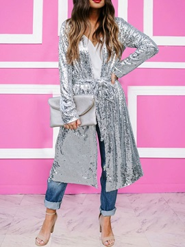 Sequins Long Long Sleeve Casual Women's Trench Coat