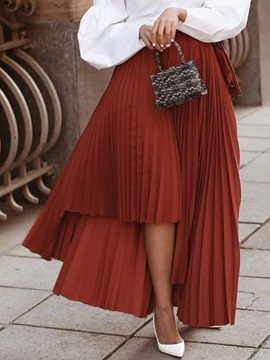 Ankle-Length Pleated Plain Mid Waist Casual Women's Skirt