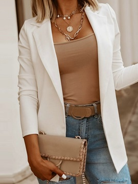 Notched Lapel Long Sleeve Plain Mid-Length Regular Women's Casual Blazer