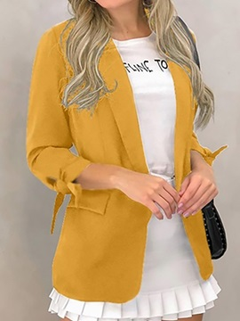 Plain Long Sleeve Notched Lapel Standard Regular Women's Casual Blazer