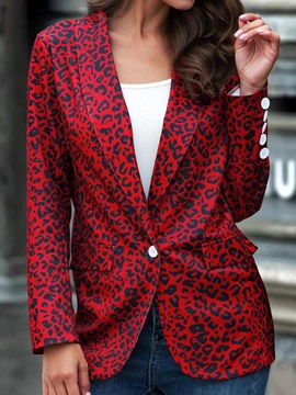 One Button Lapel Leopard Mid-Length Regular Women's Casual Blazer