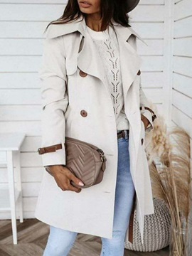 Double-Breasted Button Lapel Slim Fashion Women's Trench Coat