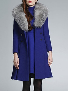 Patchwork Double-Breasted Slim Lapel Long Women's Overcoat
