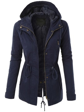 Hooded Mid-Length Zipper Fall Long Sleeve Women's Trench Coat
