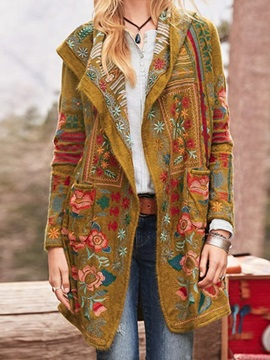 Loose Regular Embroidery Mid-Length Fall Women's Overcoat