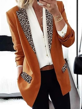 Long Sleeve Leopard Wrapped Regular Fall Women's Casual Blazer