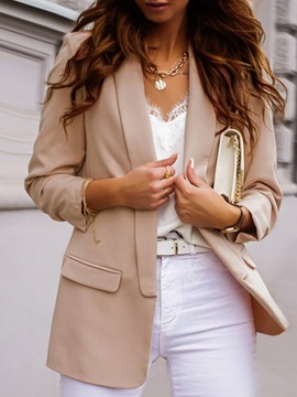 Wrapped Plain Notched Lapel Fall Mid-Length Women's Casual Blazer