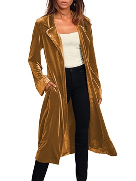 Belt Lapel Long Fall Long Sleeve Women's Trench Coat