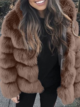 Mid-Length Plain Winter Straight Women's Faux Fur Overcoat