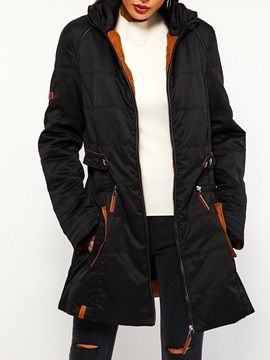 Slim Zipper Thick Mid-Length Women's Cotton Padded Jacket