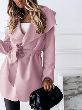 Lace-Up Lapel Mid-Length Slim Long Sleeve Women's Trench Coat